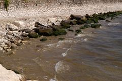 small rocky beach in Formia stock images