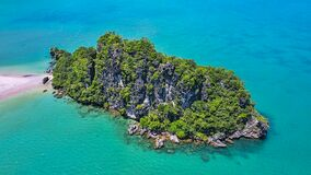 Small rocky island aerial view