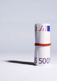Small roll of Euro banknotes Stock Image