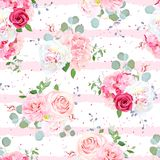 Small romantic french bouquets seamless vector striped pattern. Small romantic french bouquets of red and pink rose, white peony, camellia, hydrangea, blue Stock Photography