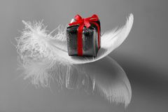 Small romantic  present on whi. Little present on white feathers Stock Photos