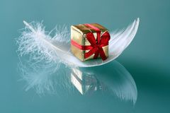 Small romantic  present on whi. Little present on white feathers Stock Image