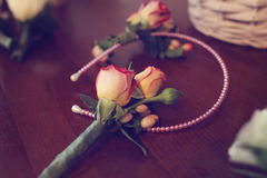 Small roses for wedding decor Royalty Free Stock Image