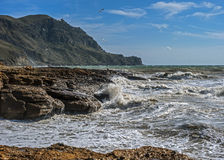 A small rough sea at Cape Frenchwoman. Royalty Free Stock Photography