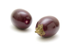 Small round aubergines Stock Photos