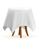Small round cafe table. Vector cafe table with white table-cloth Royalty Free Stock Photos