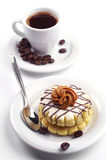 Small round cake and coffee Royalty Free Stock Images