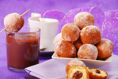 Small round donuts with chocolate filling Stock Photos