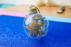 Small round glass transparent vintage homemade smart hipster decorative Christmas festive Christmas ball, Christmas tree toy royalty free stock images