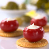 Small Round Hot Pepper Filled with Cream Cheese Royalty Free Stock Image