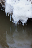 Small round icicles over water Stock Image