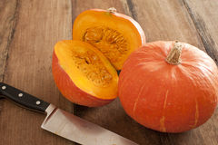 Free Small Round Oddly Shaped Pumpkin Cut In Middle Stock Photo - 77783860
