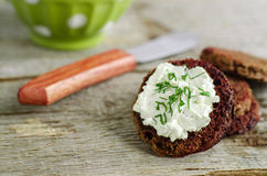 Small round rye toasts with cream cheese and dill Stock Image