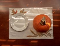 Small round white ceramic plate and pumpkin stock image