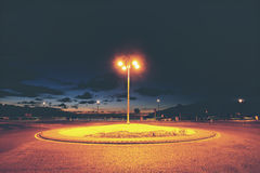 Small roundabout in Gorliz at night Stock Photography