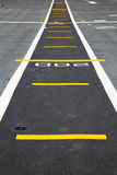 Small runway on the deck of aircraft carrier Stock Photo