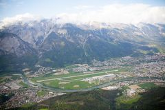 A small runway in the Italian Alps on the river Bank. stock photo