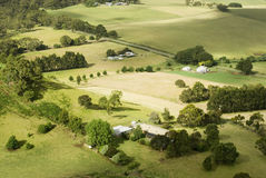 Small Rural Farms. View from above of a patchwork of fields and small farmsteads, Victoria, Australia Royalty Free Stock Images