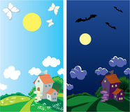 Small rural house (day and night) Stock Photo