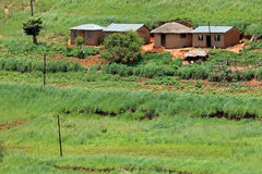 Rural settlement, South Africa. Small rural huts with cultivated lands, KwaZulu-Natal, South Africa Stock Photo