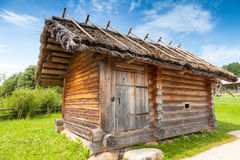 Small rural Russian bath building in a rural courtyard Royalty Free Stock Photos