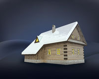 Small rural winter wooden cottage at night  Stock Photos