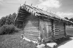 Small Russian bath typical building, black and white photo Royalty Free Stock Image