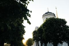 Small russian church in park at sunset royalty free stock photos