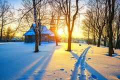 Russian church in winter forest Stock Photography