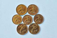Small Russian coins spilling . Royalty Free Stock Photo