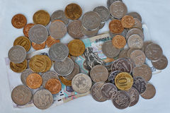 Small Russian coins spilling. Royalty Free Stock Photos