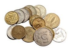 Small Russian coins on a white background Royalty Free Stock Photos