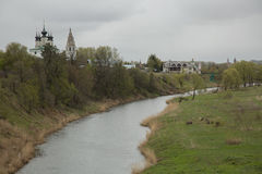 Small Russian town Suzdal view Kamenka river Royalty Free Stock Photography