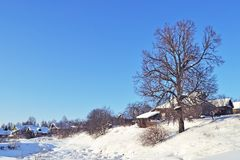 Small russian village in winter time Royalty Free Stock Images