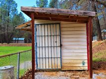 Small Rustic old lockedup shed royalty free stock photos
