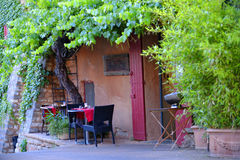 Small rustic outdoor restaurant terrace Stock Photos