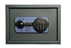 Small safe with a combination lock. Isolation on white Stock Image