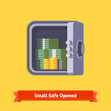 Small safe front view. Opened with money inside. Flat style illustration. EPS 10 vector Stock Photo