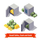 Small safes with gold bars and cash. Flat style illustration. EPS 10 vector vector illustration