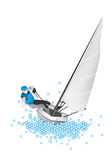 A Small Sail Boat Blasting Through A Wave Royalty Free Stock Images