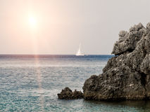 Small sail boat on the sea Royalty Free Stock Photography