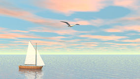 Small sailboat - 3D render stock video