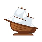 Small sailboat figurine. Vector illustration of simple sailboat figurine isolated on white Stock Photo