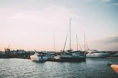 Small sailboat in Odessa port of Ukraine stock image