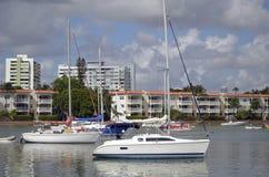 Small Sailboats at Anchor Royalty Free Stock Images