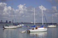 Small Sailboats at Anchor Stock Photography