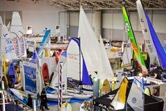 Small Sailboats At Big Blue Sea Expo,Rome 2011 Royalty Free Stock Photography