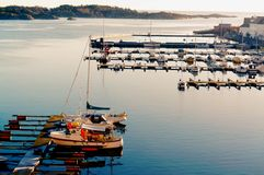 Small sailboats in the harbor Stock Photography