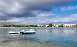 Small sailboats on Majorca coast Royalty Free Stock Photo
