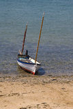 Small sailing boat. On the beach in cornwall Royalty Free Stock Photo